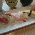 江戸政寿司 - 炙りサーモンクリームチーズ丼と5コのにぎりランチ(1290円) にぎり寿司