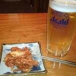 居酒屋ななちゃん - 2014/07/27 21:00訪問 生ビールにお通しはキムチ