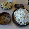 粉家 - 料理写真:豚肉ごま汁うどん(600円)+かき揚げ+きんぴら=800円