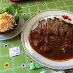マロニエ - ステーキハヤシライス サラダ付 1580円