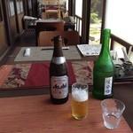 37660569 - まずはビール。右のは冷酒じゃなくてお冷やです、、