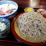 六兵衛 - もりそば(大盛り)¥400円+『セット丼のネギトロ丼』¥350円
