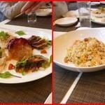 施家菜 - 前菜5種(軟芯ピータン、蒸し鳥、くらげの頭、鮑の中華刺身、広東風チャーシュー)子供用炒飯
