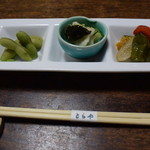 とらや - 料理写真:お通しはこの3種。さあ食べよう、飲もう~!