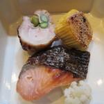無味乃美味 宗佐 - 焼き鮭・鴨肉・お芋?