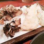 芭蕉庵 - 愛知産さよりと舞茸とうどの天ぷら860円