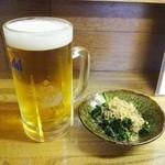焼き鳥ヒロセ - 料理写真:生ビールとお通し