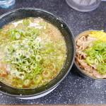 京都ラーメン研究所 - しょうゆとんこつラーメン、豚しょうが丼