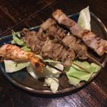 やま奇人 - バラ&鶏皮(塩)&エビ
