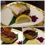 Shunyaminakuchi - 茄子田楽・お餅のせ・・肉みそのお味が薄く茄子も硬いので好みではありませんでした。