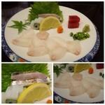 Shunyaminakuchi - ◆お刺身盛り合わせ・・以前は一人分ですか、、というくらい量がありましたけれど一般的な量になりましたね。             平目・烏賊・太刀魚・マグロなど。太刀魚がいいお味でした。