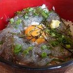 37748570 - 生しらす丼up;青みは小葱と大葉.卓上の鯖醤油で頂きます @2015/05/08