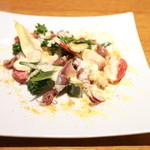 マチェレリーアディタケウチ - 春野菜とカラスミ、ホタルイカの盛り合わせ アイオリソース仕立て (1080円) '15 3月下旬