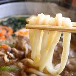 めん房なかもと - 牛饂飩鍋 麺アップ
