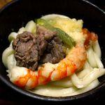 めん房なかもと - 鍋天うどんの海老と麺