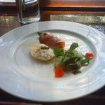 棕櫚  - 前菜3種盛(イベリコ豚の生ハム・ゴルゴンゾーラのムース・聞き逃す)