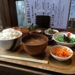農業高校レストラン - ミンチ定食950円プラス有機にんじんのシリシリ(2015.5.9)