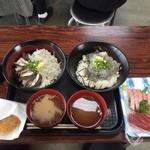 37764904 - 親子丼、生しらす丼、しらすコロッケ、刺身(まぐろ)