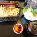 川魚・郷土旬菜 うおとし - 天然なまずの天丼セット 1458円
