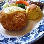 レストラン 精養軒 - 蟹クリームコロッケとハンバーグのプレートランチ