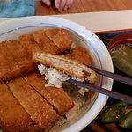 和食れすとらんおいしんぼ - 料理写真:豚ロースが2枚、特製しょうが醤油タレにハマってしまったファンが増大中のW(ダブル)かつ丼630円
