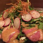 おやじのげんこつ - 水菜と鴨ロースのサラダ
