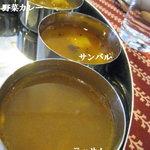 サティヤム - ◆カレーエリア/サンバル・ラッサム・野菜カレー(南インドミールス)