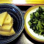 天元 - 筍の煮物とお漬物です