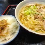 37790133 - 肉うどん(550円)+じゃこ飯