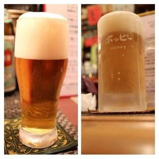 星の庵 風の色 - 三冷ホッピー(500円)とビール