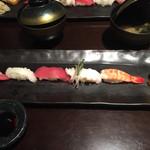 魚家 - 寿司。シャリが中々良かった。タコはイマイチ。ネタは普通。エンガワがあって嬉しかった。