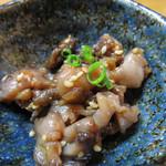 37814979 - 小鉢は、うーん、コレなんだろう。                       何かの貝のピリ辛煮です。