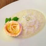 3丁目カフェ - 本日のランチ:鯛のリゾット サーモンのフラワー添え