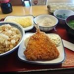南あわじ八木食堂 - 筍ご飯・アジフライ・だし巻き・ちりめんおろし・味噌汁・ほうれん草