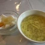 盛興苑 - ランチのデザートと卵スープ