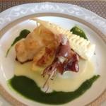 プティ・ファンベック - 料理写真:本日の魚料理(左から、マダイ、ホタテのグラタン、ホタルイカ、真ダコ、上はタケノコ)