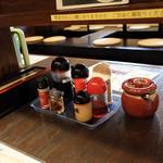 博多ラーメン123 - 卓上の調味料。