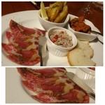 クッキン - ◆前菜盛り合わせ(1200円)・・ハムや若先のフリット、ペーストなど思った以上にボリュームがありますね。 サラミを頂きましたが、美味しいですよ。