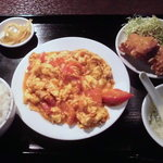 快楽園 - トマトと玉子炒め定食 580円也