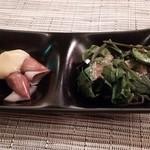 37883283 - お通し                       沖イカの酢味噌和え、山菜