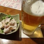 うみ道楽 - 生ビールとお通しです。