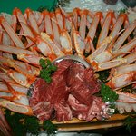 木船 - 香住ガニと但馬牛のステーキを炭火で!こんなお客様も!