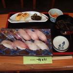 権五郎 - 地魚鮨(アジ、カンパチヒラメ、イサキ、ホウボウ他)