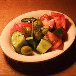 ペーパーウォールカフェ - アンチョビ・オリーブとトマト