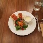 カピートロ - ランチパスタセットにつく前菜・スープ・フォカッチャ