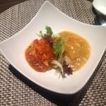 ルーロン - 大海老の赤、黄色の二種チリソース炒め