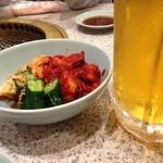 照月苑 - キムチ盛り合わせと生ビール(大ジョッキ)