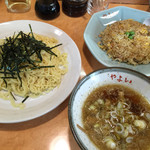 37984844 - ざるつけ麺+半チャーハン(700円)