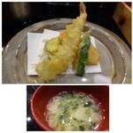 博多割烹 水音 - 天ぷら・・海老・しし唐・かぼちゃ・茄子。カラッと揚がり美味しい。 お味噌汁もいいお味でした。。