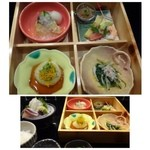 37988691 - 松花堂弁当には4種類のお料理が入っています。